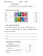 Maths vocabulary and interactive worksheet for ESL students - Grade 3