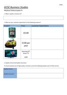 KS4 - Production Quality - Worksheet
