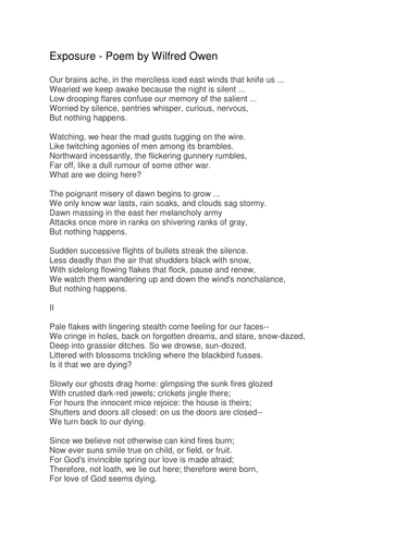 the sentry owen wilfred Poetry critique soldier's dream from scarborough, wilfred owen wrote to siegfried sassoon on 27th november 1917 the sentry and doubtless there.
