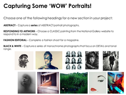 Portrait Briefs/Starting point GCSE or A-Level Photography