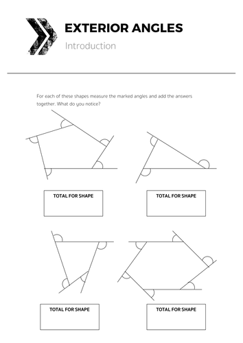 Interior Exterior Angles Of Polygons Complete Unit Of Work By Tomotoole Teaching Resources