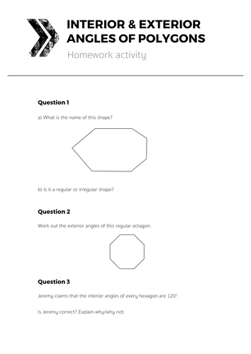Student homework - How to work out an exterior angle ...
