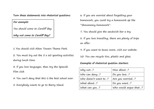 Turn these statements into rhetorical questions and material for writing an  information leaflet.