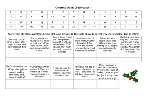 Christmas Codebreakers by alutwyche Teaching Resources TES – Maths Code Breaker Worksheets