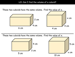 Volume of a Cuboid (Grade D) by arthompson1987 | Teaching Resources