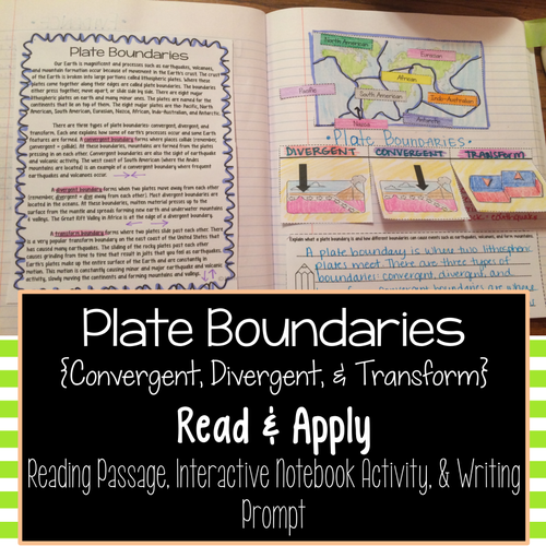 Featured Author Jessica Smith, Plate Boundaries: Read and Apply Interactive Notebook Activity
