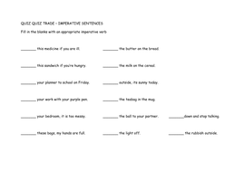imperative verbs quiz quiz trade by ashchambers teaching resources. Black Bedroom Furniture Sets. Home Design Ideas