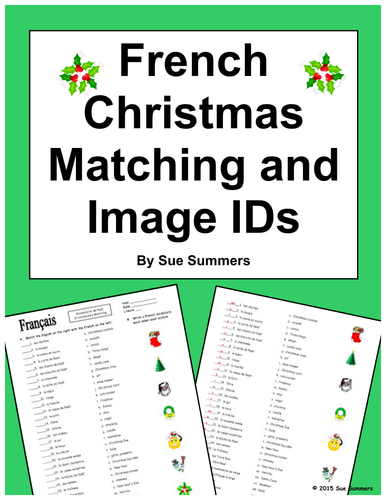 french christmas matching quiz or worksheet 31 words by suesummersshop us teacher lessons tes. Black Bedroom Furniture Sets. Home Design Ideas