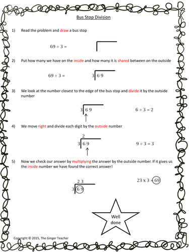bus stop method easy long division complete math lesson by the ginger teacher uk teaching. Black Bedroom Furniture Sets. Home Design Ideas