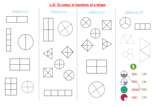 Shading fractions of a shape by funkyblues Teaching Resources TES – Fractions of Shapes Worksheet