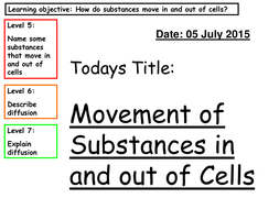 Cells Lesson 4 - Movement of substances in and out of cells - Diffusion