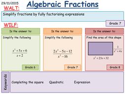 Maths Ks4 Simplifying Algebraic Fractions Harder By Mathsbyfintan