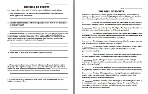 BILL OF RIGHTS: 3 DIFFERENT LESSONS by Jonmayhew1234 - Teaching ...