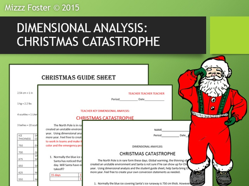 Holiday Celebrations: Dimensional Analysis: Christmas Catastrophe (factor /label method)