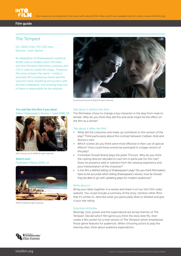 The Tempest 2010 - Film Guide