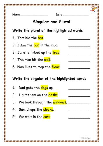 Worksheets For Singular And Plural Grade 1 Worksheets For Singular