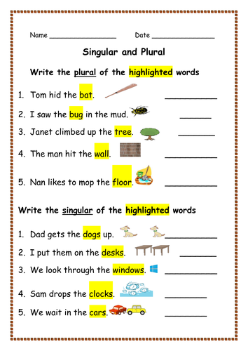 Spellings: Writing Singular Nouns into Plural Nouns and Vice Versa ...