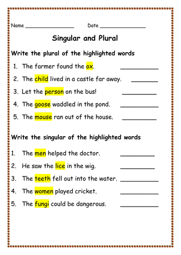Singular And Plural Worksheets For Kindergarten & singular and ...