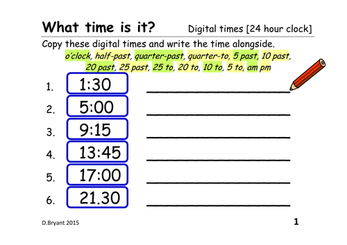 Telling the time from a digital clock 12 hour clock and 24 hour – Digital Clock Worksheets