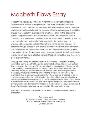 Macbeth essay conclusion