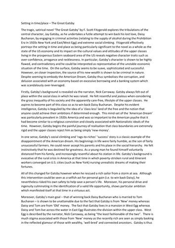 Higher english great gatsby essay questions