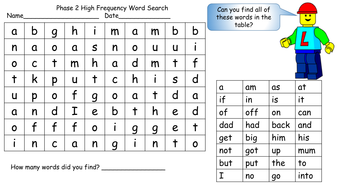 First One Hundred High Frequency Words Word Search Phase
