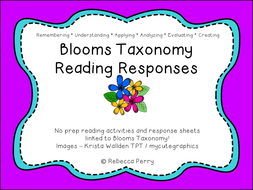 Blooms Taxonomy Reading Responses - Guided Reading - Shared Reading - Comprehension