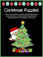 Christmas Puzzles - NO PREP! - Colour & Reveal 100 Square – Math Center