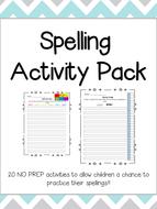 Spelling Activities - NO PREP! - 20 activities to print & use!!