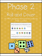 Phase 2 Phonics Roll & Cover Activity - NO PREP! 6 game boards! Letters and Sounds!