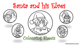 santa claus father christmas and his elves colouring sheets