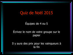 French Christmas quiz testing general knowledge