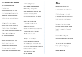 KS3 Poetry Comparison Task:  Give by Simon Armitage and The Hunchback in the Park by Dylan Thomas