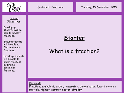 Equivalent fractions simplifying fractions ordering fractions by – Simplifying Fractions Worksheet