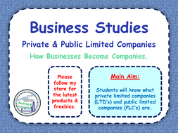 Private Limited Company (LTD) & Public Limited Company (PLC) - Limited Liability - PPT & Worksheets