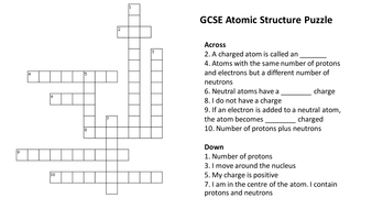 Atomic structure crossword puzzle with answers by atomic structure crossword puzzle with answers urtaz Images