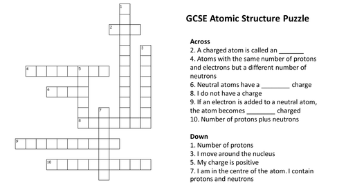 Atomic Structure Crossword Puzzle (With Answers) by ...