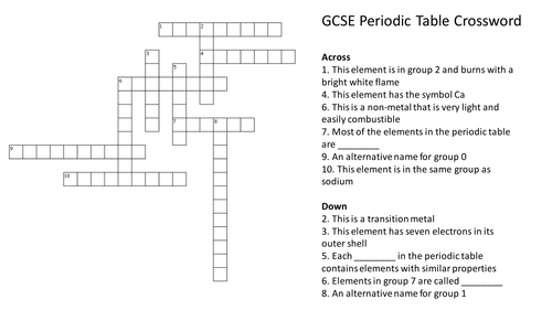 periodic table crossword puzzle with answers by richardrogersscience teaching resources tes - Mastering The Periodic Table Activity 5 Nonmetals Word Find