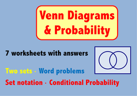 Venn diagrams probability 7 worksheets by skillsheets teaching venn diagrams probability 7 worksheets ccuart Choice Image