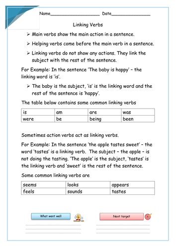 Linking Verbs Powerpoint Lesson And Set Of Worksheets By Krazikas