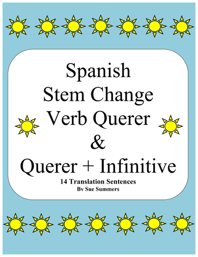 Spanish Querer And Querer Infinitive Sentences Worksheet