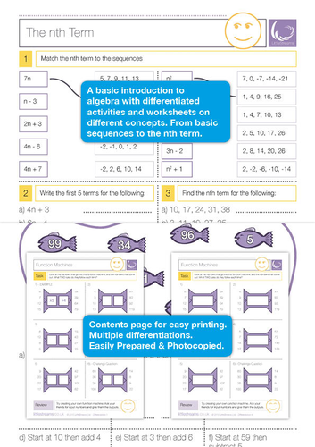 Algebra Patterns and Sequences Worksheets by LittleStreams ...