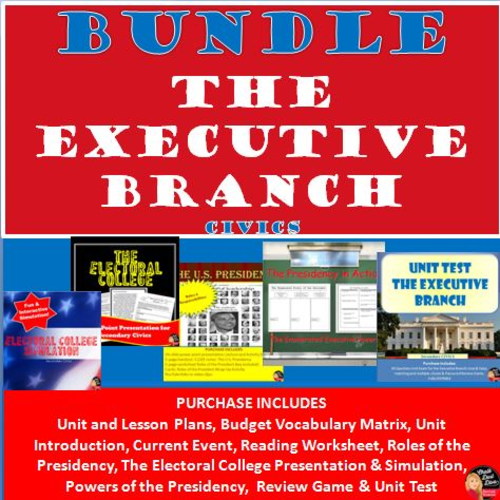 bundle the executive branch u s presidency unit civics by chalkdustdiva us teacher. Black Bedroom Furniture Sets. Home Design Ideas
