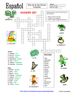 spanish st patrick s day crossword puzzle and vocabulary ids by