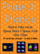 Phase 3 Phonics - Obb & Bob - Real or Fake words - Space Stars & Space Junk - Letters & Sounds!!