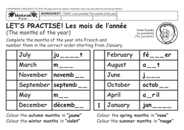 FRENCH – HEALTH & BODY - Y3-Y4: The months of the year/ Celebrating ...
