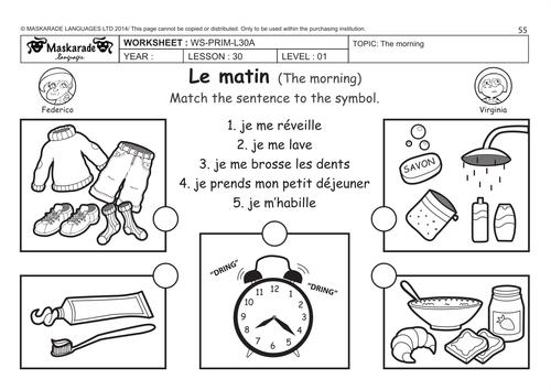 french friends activities y3 y4 daily routine les activit s du matin la journ e et le. Black Bedroom Furniture Sets. Home Design Ideas