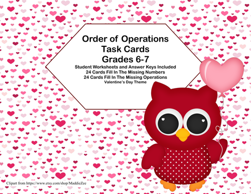 Order of Operations Task Cards-Missing Number or Operation ...