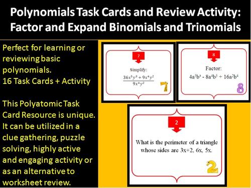Polynomials Binomials And Trinomials Task Card Review