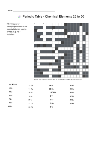 Worksheets Periodic Table Crossword Puzzle Worksheet puzzle me periodic table related crosswords by puzzleme chemical elements